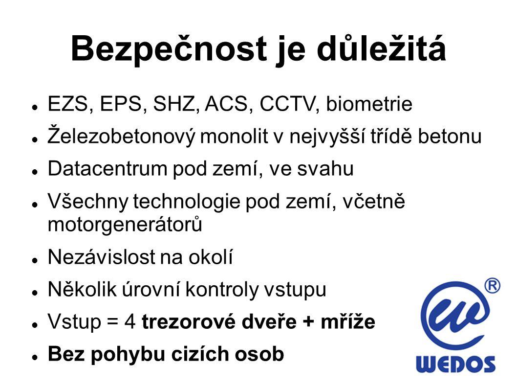 Bezpečnost je důležitá EZS, EPS, SHZ, ACS, CCTV, biometrie Železobetonový monolit v nejvyšší třídě betonu Datacentrum pod zemí, ve svahu Všechny techn