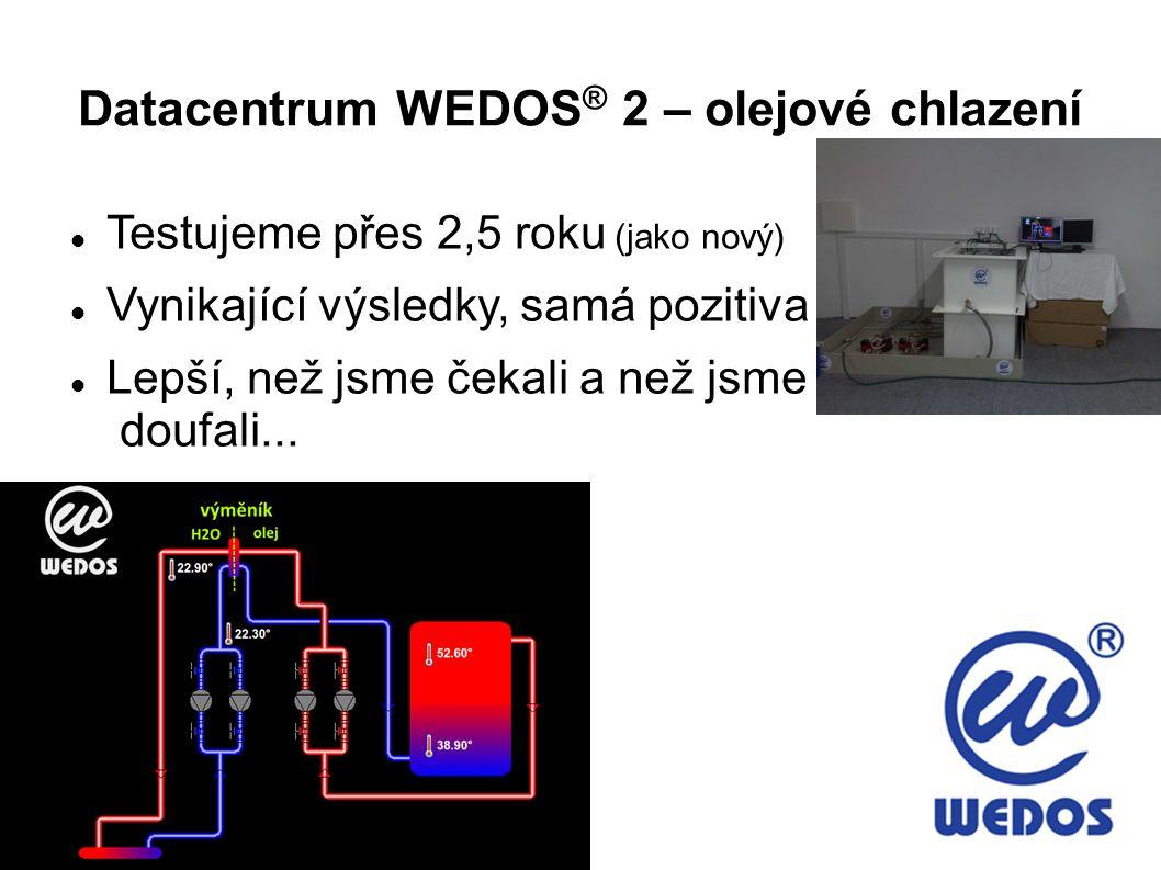 Datacentrum WEDOS ® 2 – olejové chlazení Testujeme přes 2,5 roku (jako nový) Vynikající výsledky, samá pozitiva Lepší, než jsme čekali a než jsme douf