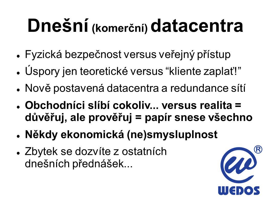 Dnešní (komerční) datacentra Fyzická bezpečnost versus veřejný přístup Úspory jen teoretické versus kliente zaplať! Nově postavená datacentra a redundance sítí Obchodníci slíbí cokoliv...