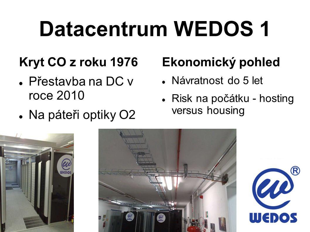 Datacentrum WEDOS 1 DDoS ochrana, IPS/IDS ochrana Celkem 882 m2 plochy, celkem 6000 1U pozic Redundantní napájení, redundantní UPS, motorgenerátor, chlazení Primární chlazení freecooling 30.000 m3/hod, zdvojená podlaha Studená/teplá ulička, PUE 1,13 (mimořádně úsporné) Zcela nezávislé (bez souběhu) optické trasy od O2 a od ČDT FM200, kamery, přístupový systém RFID, alarm, bezpečnostní mříže Inteligentní elektroinstalace KNX/EIB, dohled a řízení v PC Používání úsporných řad procesorů Jištění serverů po malých skupinách Certifikace ISO 9001 a ISO 14001 a ISO 27001