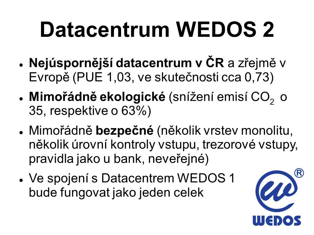 Datacentrum WEDOS 2 Nejúspornější datacentrum v ČR a zřejmě v Evropě (PUE 1,03, ve skutečnosti cca 0,73) Mimořádně ekologické (snížení emisí CO 2 o 35, respektive o 63%) Mimořádně bezpečné (několik vrstev monolitu, několik úrovní kontroly vstupu, trezorové vstupy, pravidla jako u bank, neveřejné) Ve spojení s Datacentrem WEDOS 1 bude fungovat jako jeden celek