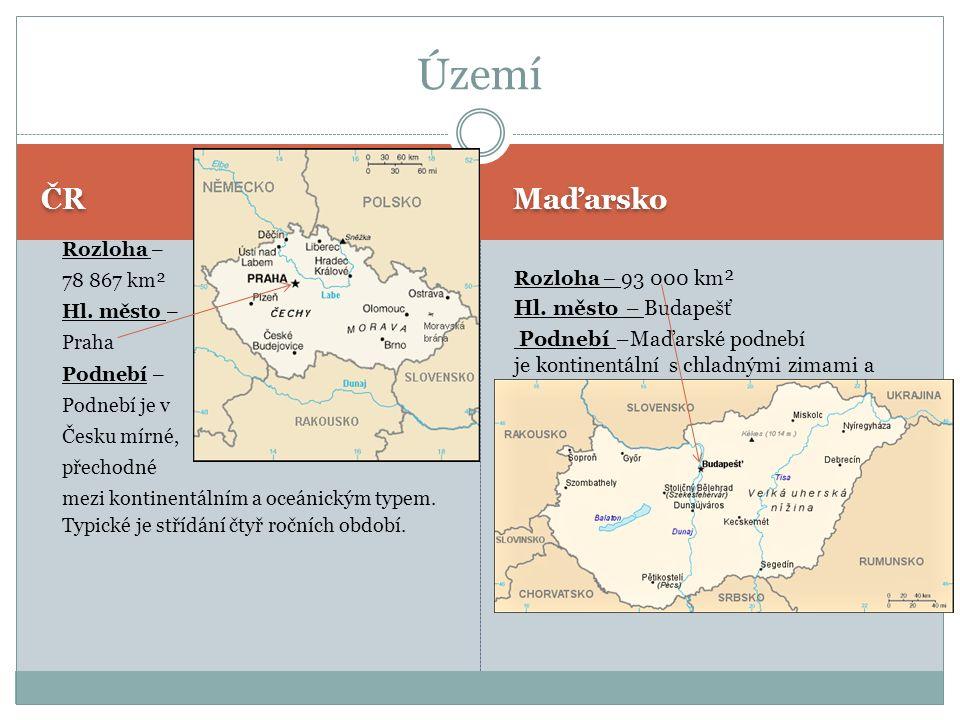 ČR Maďarsko Rozloha – 78 867 km² Hl.