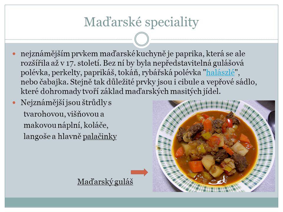 Maďarské speciality nejznámějším prvkem maďarské kuchyně je paprika, která se ale rozšířila až v 17.
