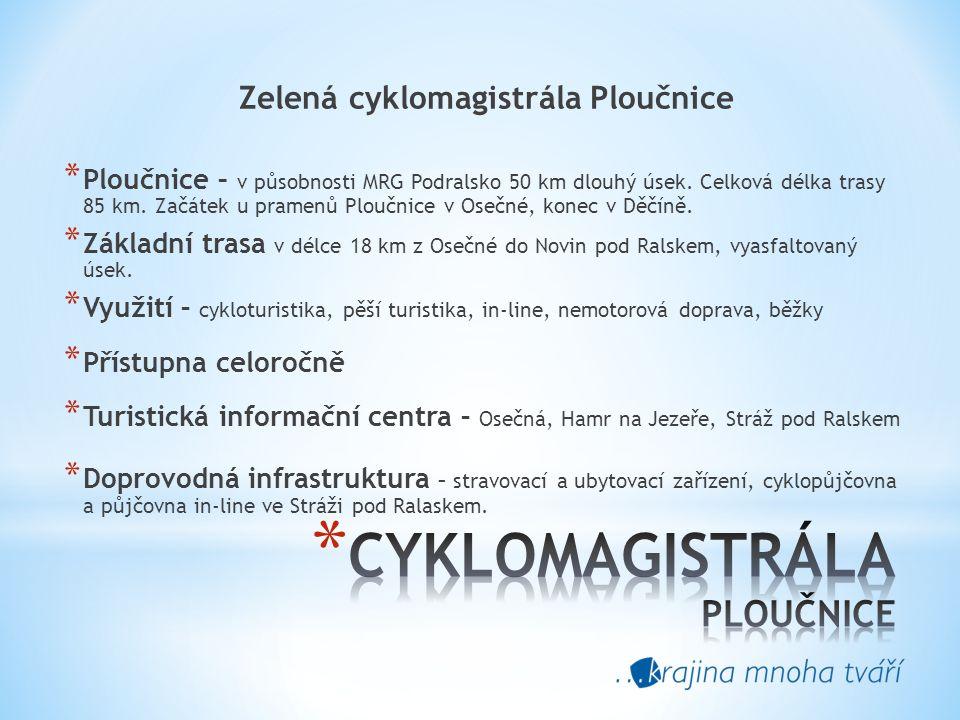 Zelená cyklomagistrála Ploučnice * Ploučnice – v působnosti MRG Podralsko 50 km dlouhý úsek.