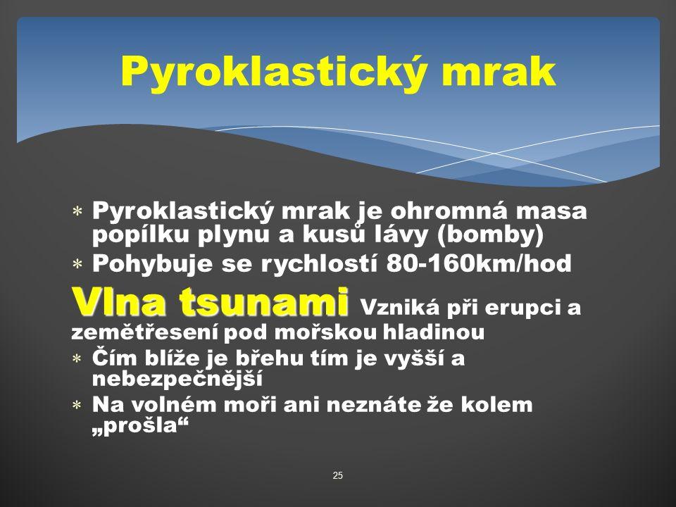 """ Pyroklastický mrak je ohromná masa popílku plynu a kusů lávy (bomby)  Pohybuje se rychlostí 80-160km/hod Vlna tsunami Vlna tsunami Vzniká při erupci a zemětřesení pod mořskou hladinou  Čím blíže je břehu tím je vyšší a nebezpečnější  Na volném moři ani neznáte že kolem """"prošla 25 Pyroklastický mrak"""