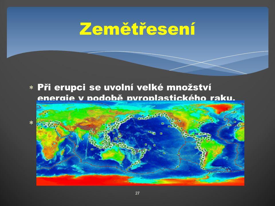  Při erupci se uvolní velké množství energie v podobě pyroplastického raku, magmatu a zemětřesení  Na obrázku jsou vidět místa kde jsou nejčastější zemětřesení a je téměř shodná s mapou sopek 27 Zemětřesení
