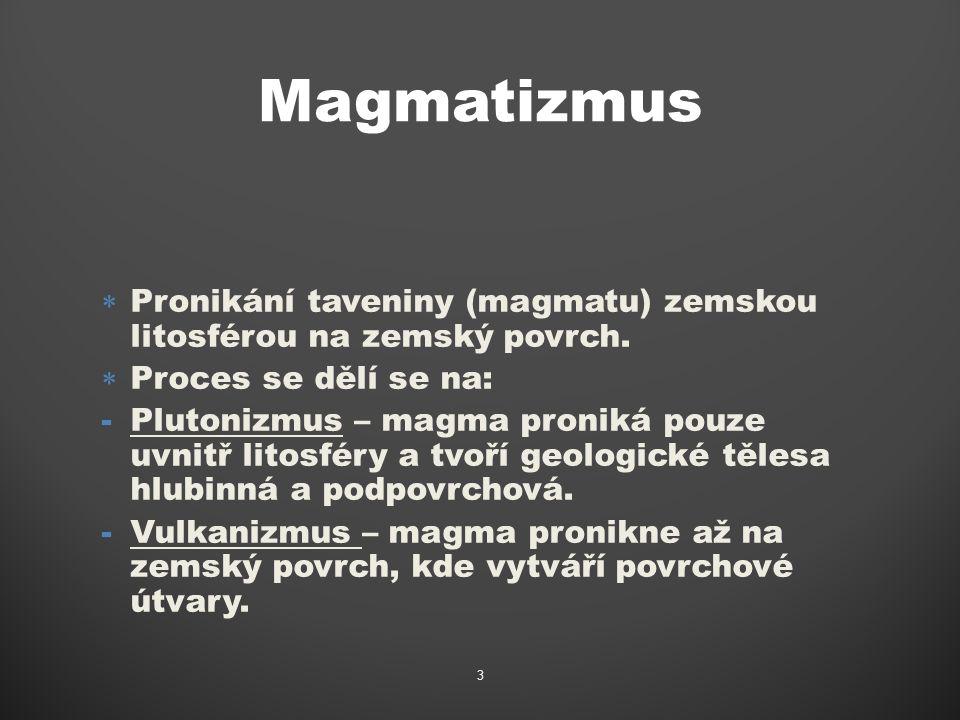 Tipy magmatizmu Magma- převážně, silikátová žhavotekutá hmota, složená z taveniny, pevných krystalů a fluidní fáze (vodní pára a plyny).