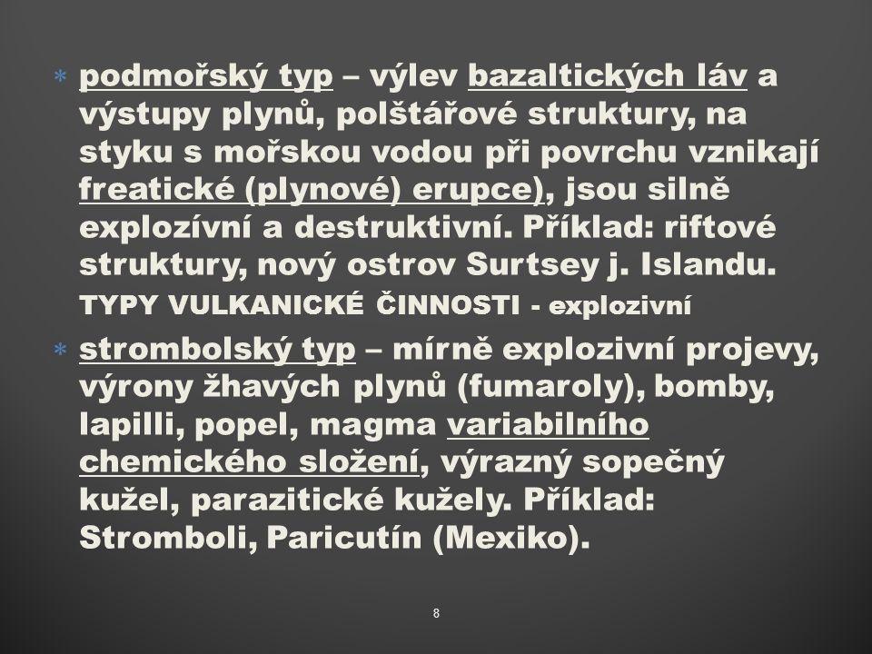 """ peléský typ – výrazný kužel, produkce žhavých plyno-prachových směsí pyroklastik, které tvoří na svazích žhavé """"laviny (pyroklastické laviny) a kopírují terénní nerovnosti, láva kyselá, viskózní, prudké a destruktivní erupce bohaté na pyroklastika."""