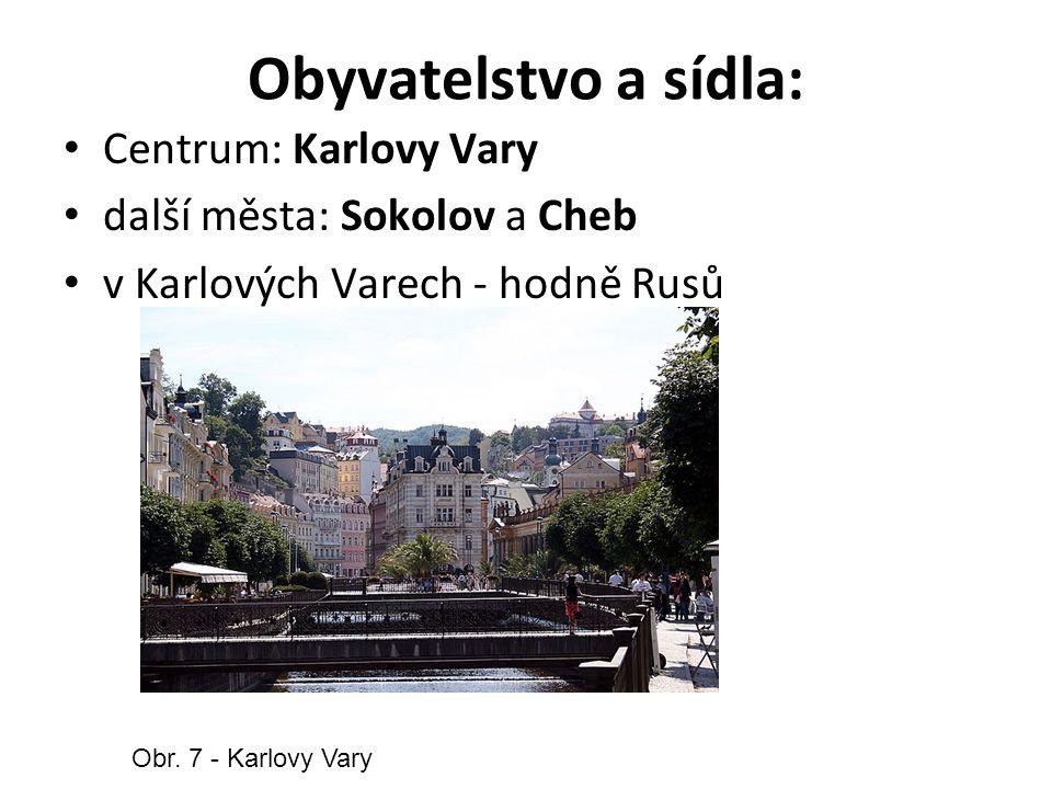 Obyvatelstvo a sídla: Centrum: Karlovy Vary další města: Sokolov a Cheb v Karlových Varech - hodně Rusů Obr.