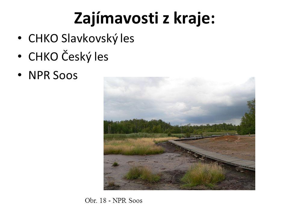 Zajímavosti z kraje: CHKO Slavkovský les CHKO Český les NPR Soos Obr. 18 - NPR Soos