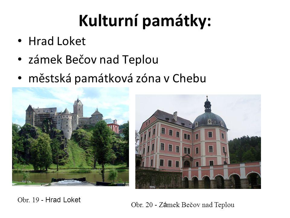 Kulturní památky: Hrad Loket zámek Bečov nad Teplou městská památková zóna v Chebu Obr.