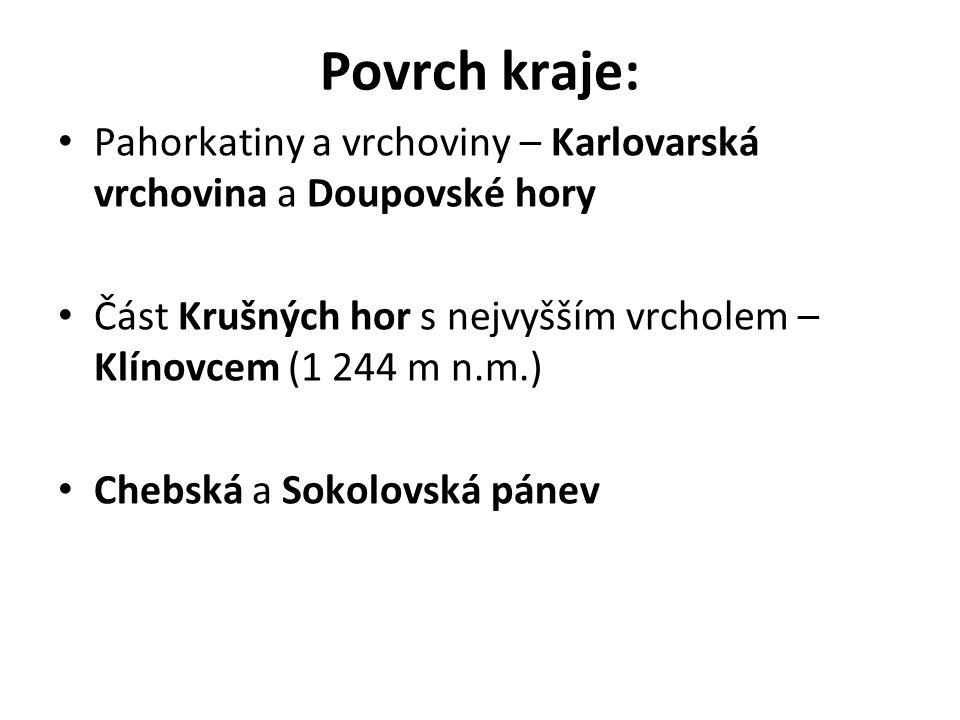 Povrch kraje: Pahorkatiny a vrchoviny – Karlovarská vrchovina a Doupovské hory Část Krušných hor s nejvyšším vrcholem – Klínovcem (1 244 m n.m.) Chebská a Sokolovská pánev