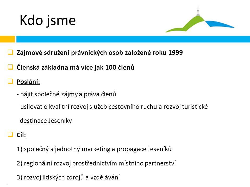 Kdo jsme  Zájmové sdružení právnických osob založené roku 1999  Členská základna má více jak 100 členů  Poslání: - hájit společné zájmy a práva členů - usilovat o kvalitní rozvoj služeb cestovního ruchu a rozvoj turistické destinace Jeseníky  Cíl: 1) společný a jednotný marketing a propagace Jeseníků 2) regionální rozvoj prostřednictvím místního partnerství 3) rozvoj lidských zdrojů a vzdělávání