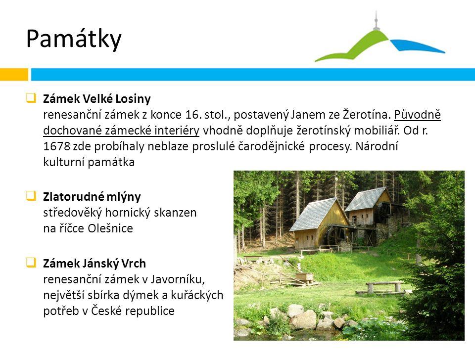 Památky  Zámek Velké Losiny renesanční zámek z konce 16.