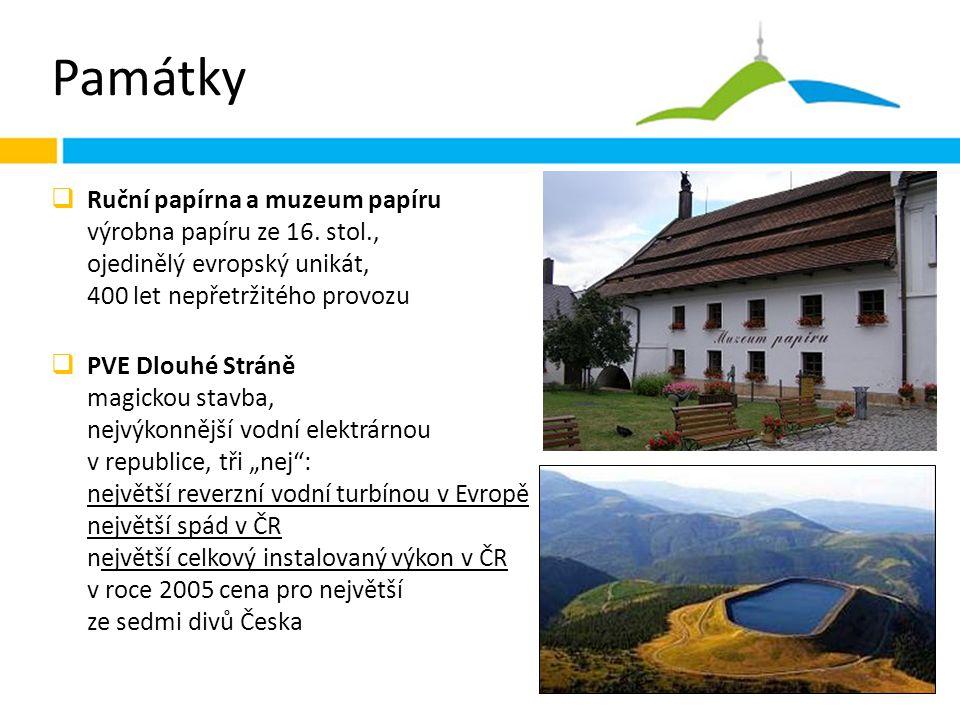 Památky  Ruční papírna a muzeum papíru výrobna papíru ze 16.