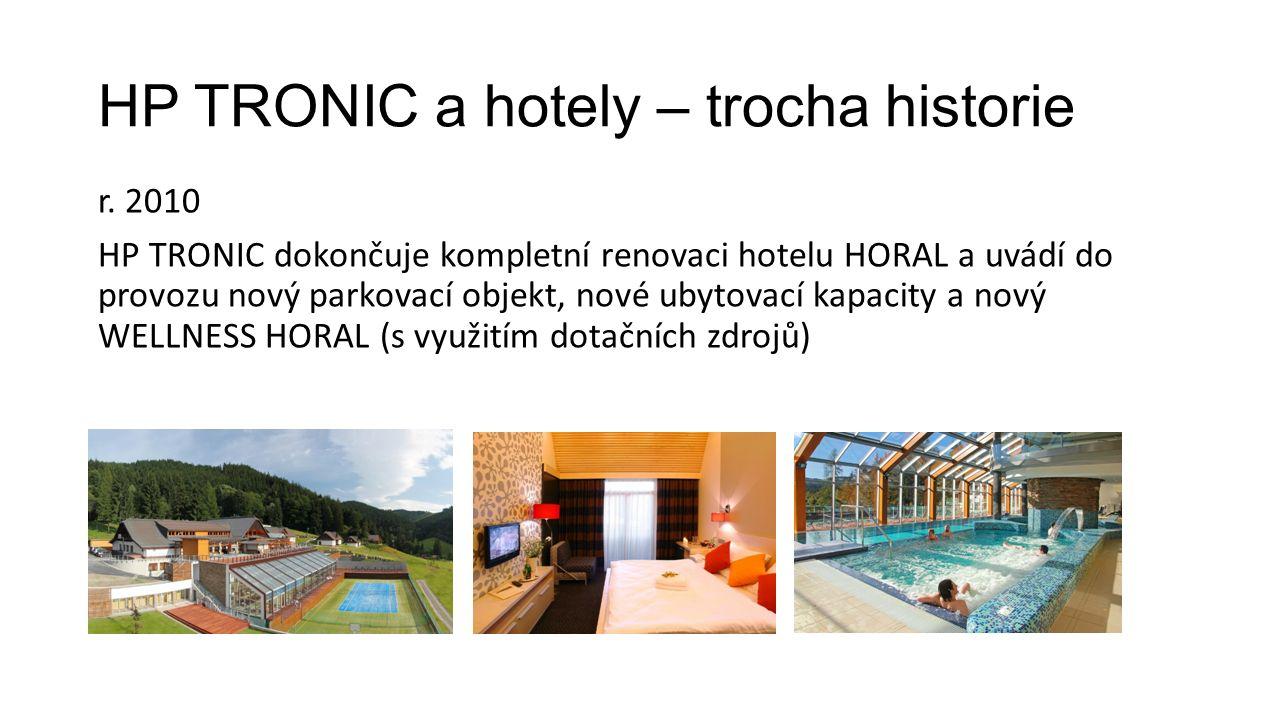 HP TRONIC a hotely – trocha historie r. 2010 HP TRONIC dokončuje kompletní renovaci hotelu HORAL a uvádí do provozu nový parkovací objekt, nové ubytov