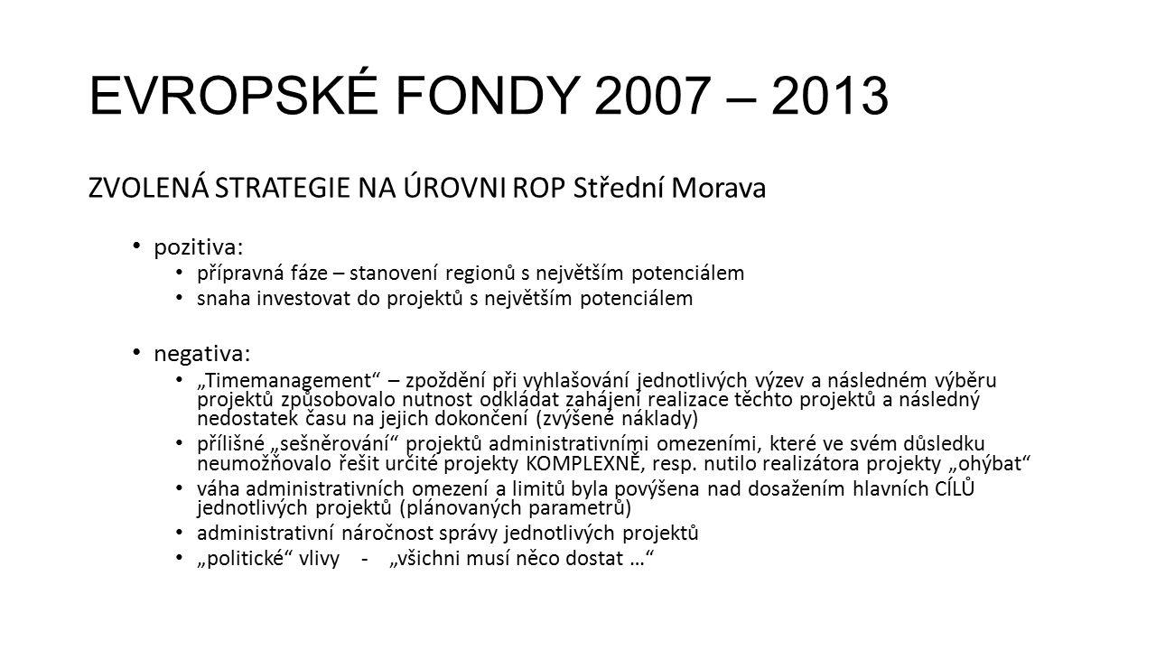 EVROPSKÉ FONDY 2007 – 2013 ZVOLENÁ STRATEGIE NA ÚROVNI ROP Střední Morava pozitiva: přípravná fáze – stanovení regionů s největším potenciálem snaha i