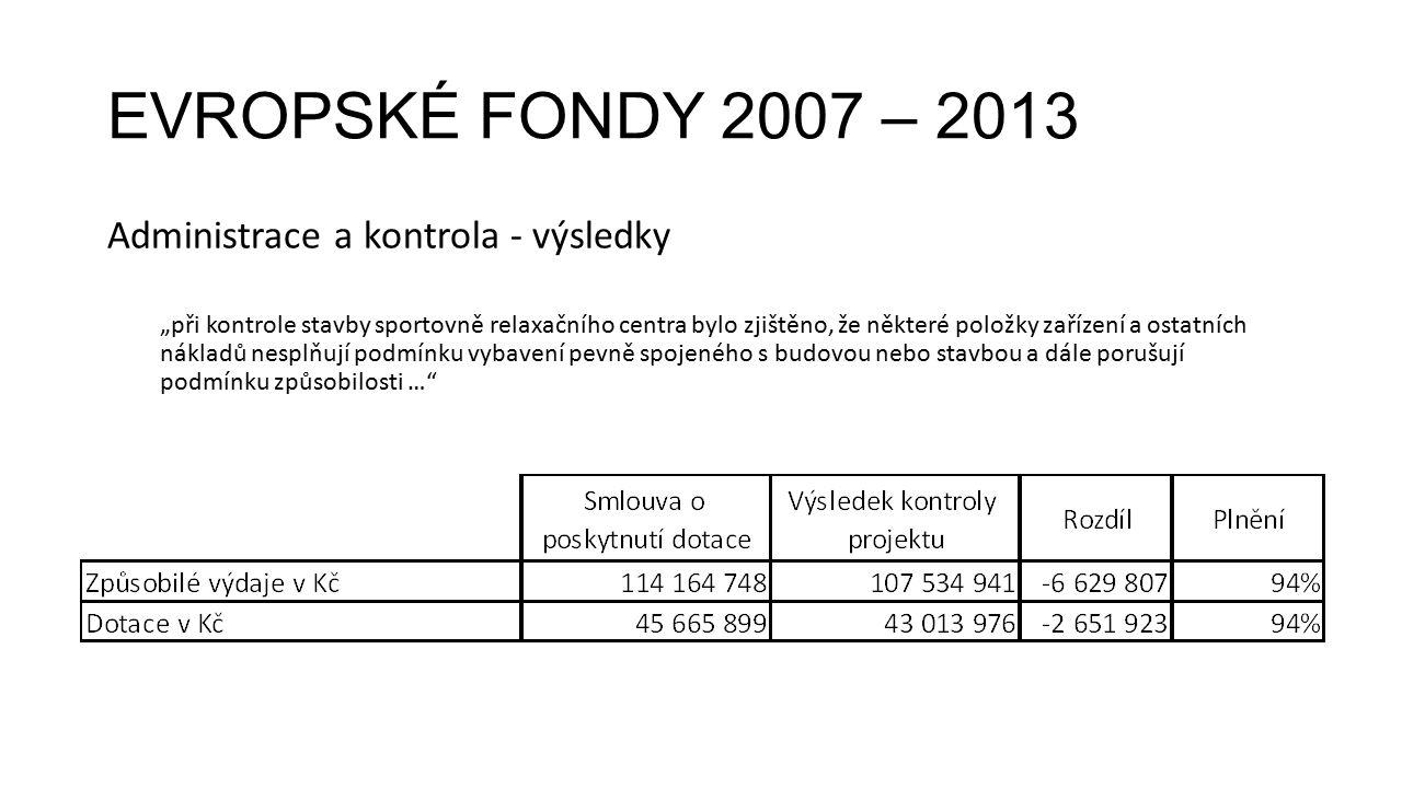 """EVROPSKÉ FONDY 2007 – 2013 Administrace a kontrola - výsledky """"při kontrole stavby sportovně relaxačního centra bylo zjištěno, že některé položky zaří"""