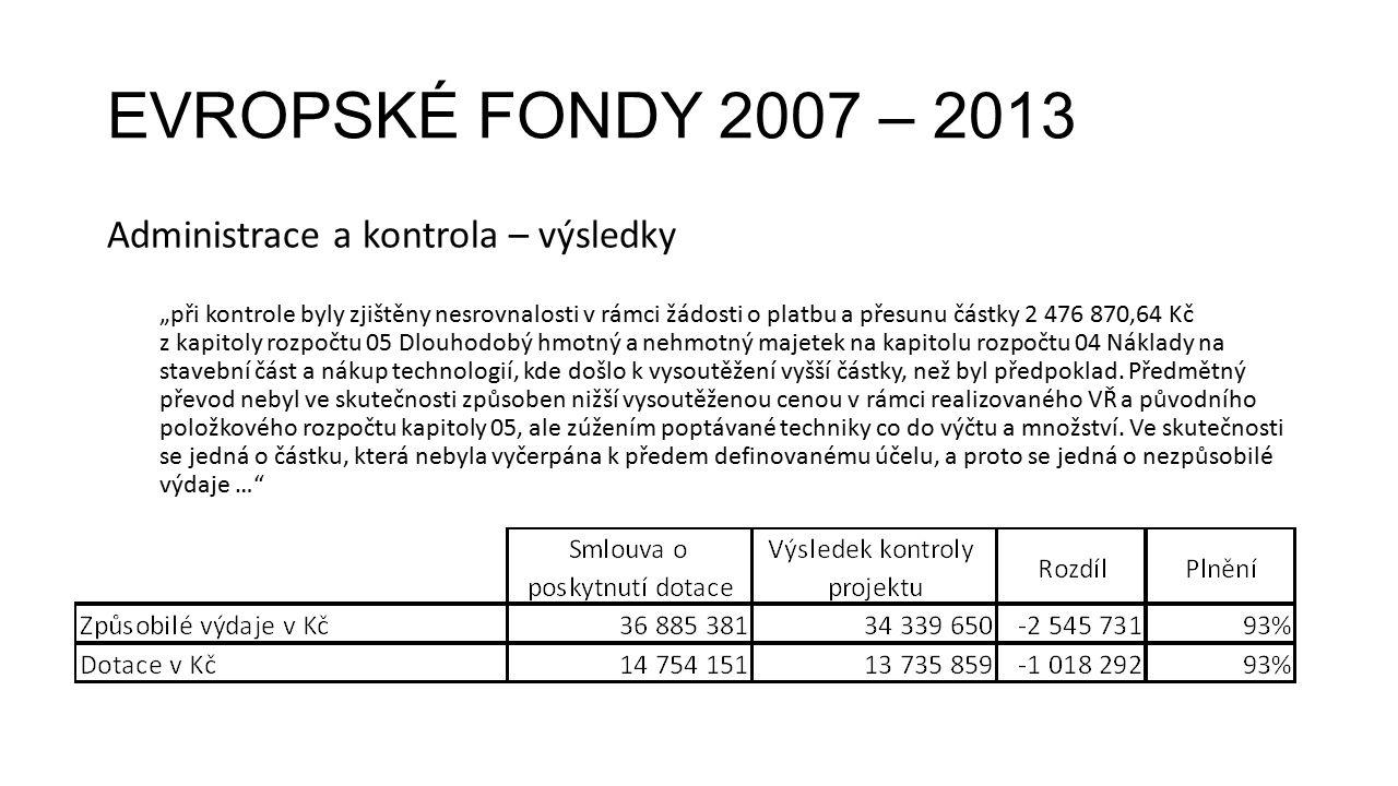 """EVROPSKÉ FONDY 2007 – 2013 Administrace a kontrola – výsledky """"při kontrole byly zjištěny nesrovnalosti v rámci žádosti o platbu a přesunu částky 2 47"""