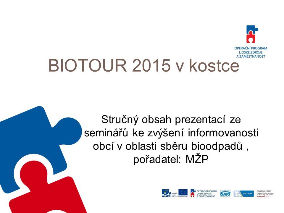 BIOTOUR 2015 v kostce Stručný obsah prezentací ze seminářů ke zvýšení informovanosti obcí v oblasti sběru bioodpadů, pořadatel: MŽP