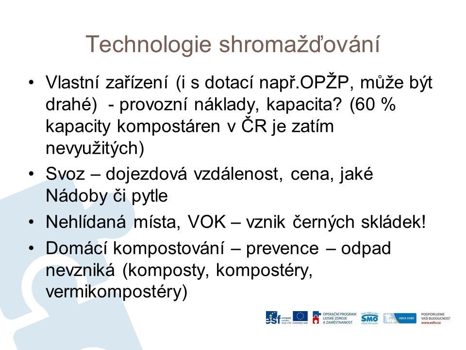 Technologie shromažďování Vlastní zařízení (i s dotací např.OPŽP, může být drahé) - provozní náklady, kapacita.