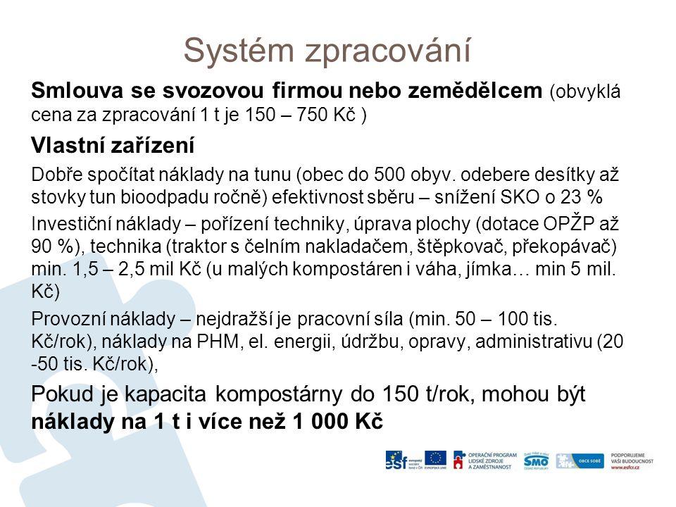 Systém zpracování Smlouva se svozovou firmou nebo zemědělcem (obvyklá cena za zpracování 1 t je 150 – 750 Kč ) Vlastní zařízení Dobře spočítat náklady na tunu (obec do 500 obyv.