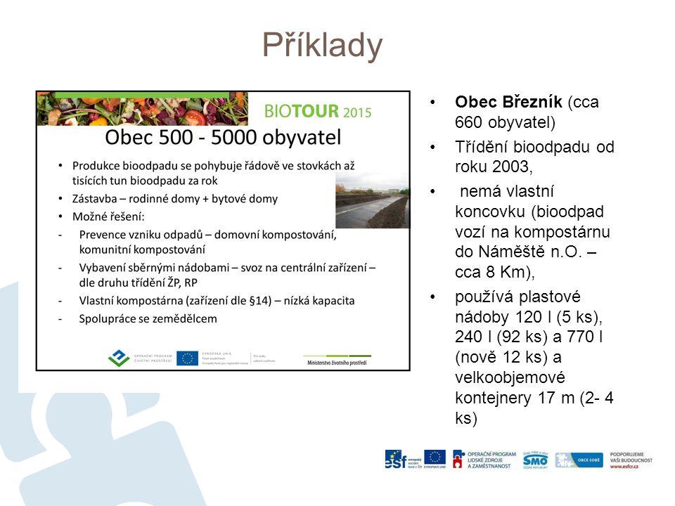 Příklady Obec Březník (cca 660 obyvatel) Třídění bioodpadu od roku 2003, nemá vlastní koncovku (bioodpad vozí na kompostárnu do Náměště n.O.