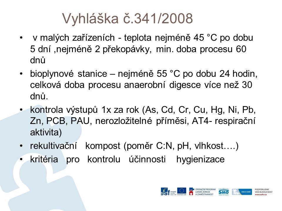 Vyhláška č.341/2008 v malých zařízeních - teplota nejméně 45 °C po dobu 5 dní,nejméně 2 překopávky, min.