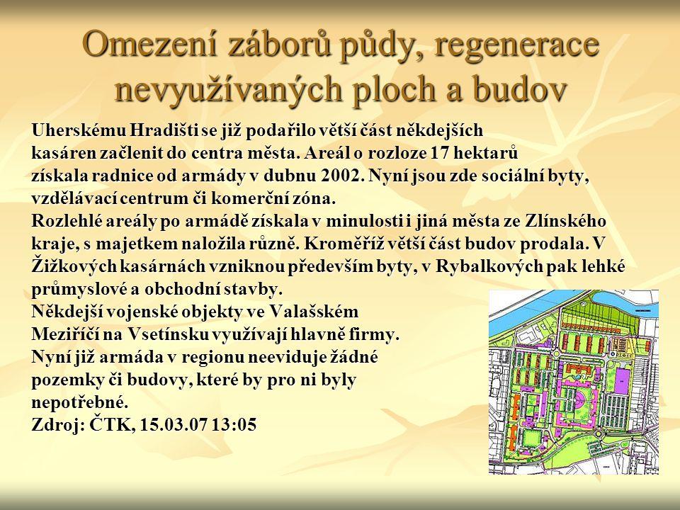 Omezení záborů půdy, regenerace nevyužívaných ploch a budov Uherskému Hradišti se již podařilo větší část někdejších kasáren začlenit do centra města.