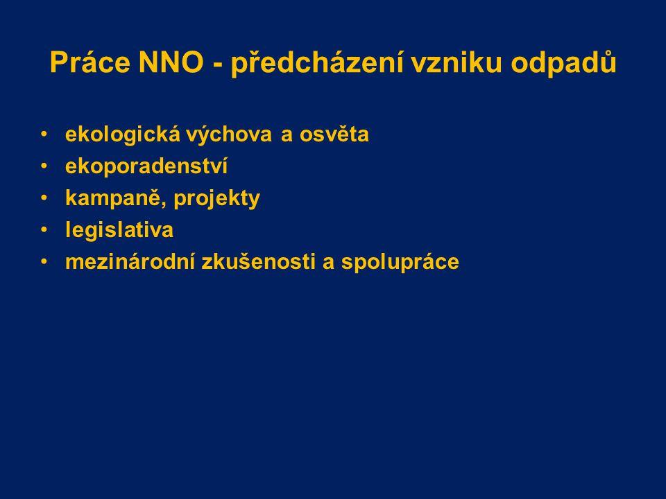 Práce NNO - předcházení vzniku odpadů ekologická výchova a osvěta ekoporadenství kampaně, projekty legislativa mezinárodní zkušenosti a spolupráce