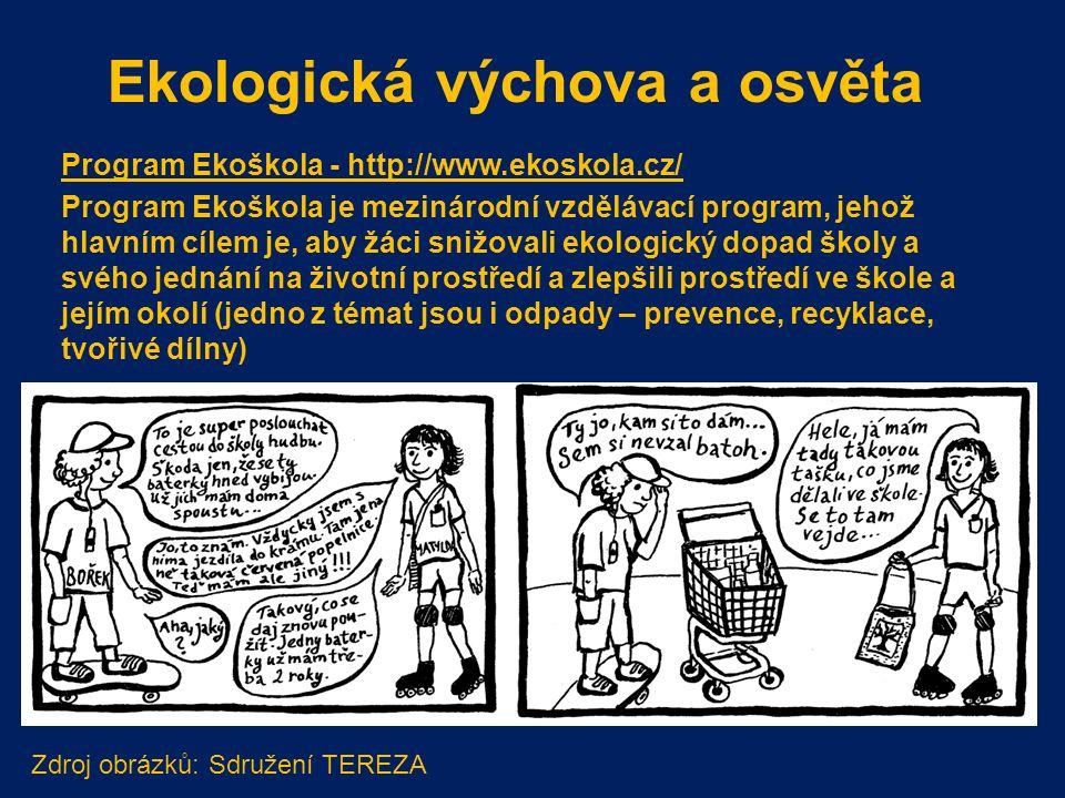 Program Ekoškola - http://www.ekoskola.cz/ Program Ekoškola je mezinárodní vzdělávací program, jehož hlavním cílem je, aby žáci snižovali ekologický dopad školy a svého jednání na životní prostředí a zlepšili prostředí ve škole a jejím okolí (jedno z témat jsou i odpady – prevence, recyklace, tvořivé dílny) Ekologická výchova a osvěta Zdroj obrázků: Sdružení TEREZA