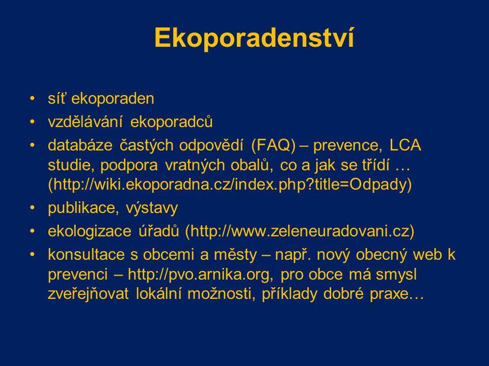 Ekoporadenství síť ekoporaden vzdělávání ekoporadců databáze častých odpovědí (FAQ) – prevence, LCA studie, podpora vratných obalů, co a jak se třídí … (http://wiki.ekoporadna.cz/index.php?title=Odpady) publikace, výstavy ekologizace úřadů (http://www.zeleneuradovani.cz) konsultace s obcemi a městy – např.