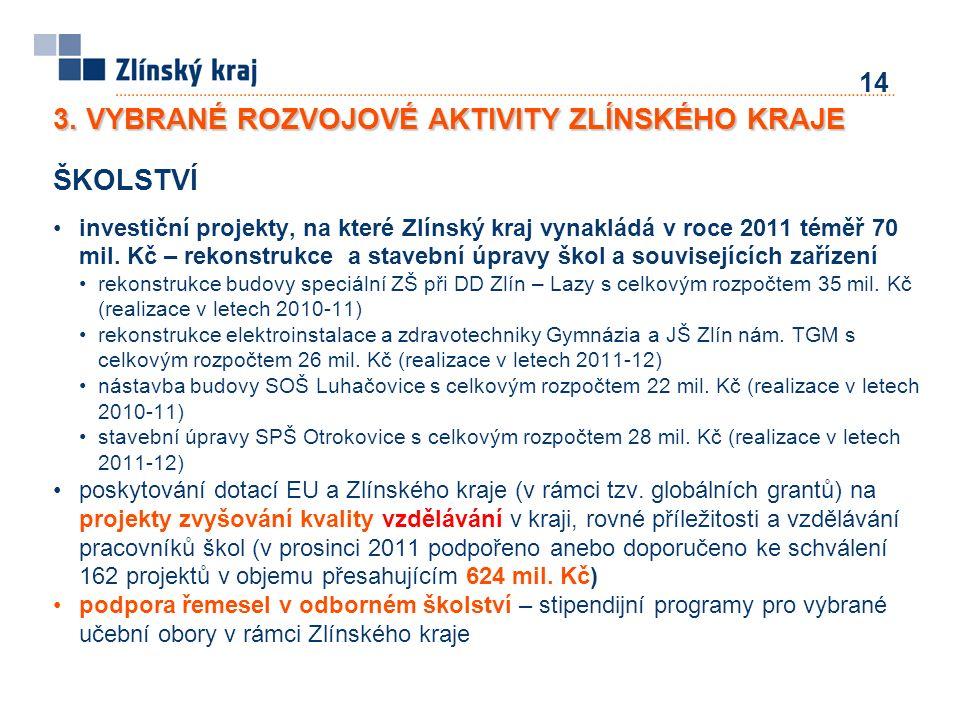 ŠKOLSTVÍ investiční projekty, na které Zlínský kraj vynakládá v roce 2011 téměř 70 mil.