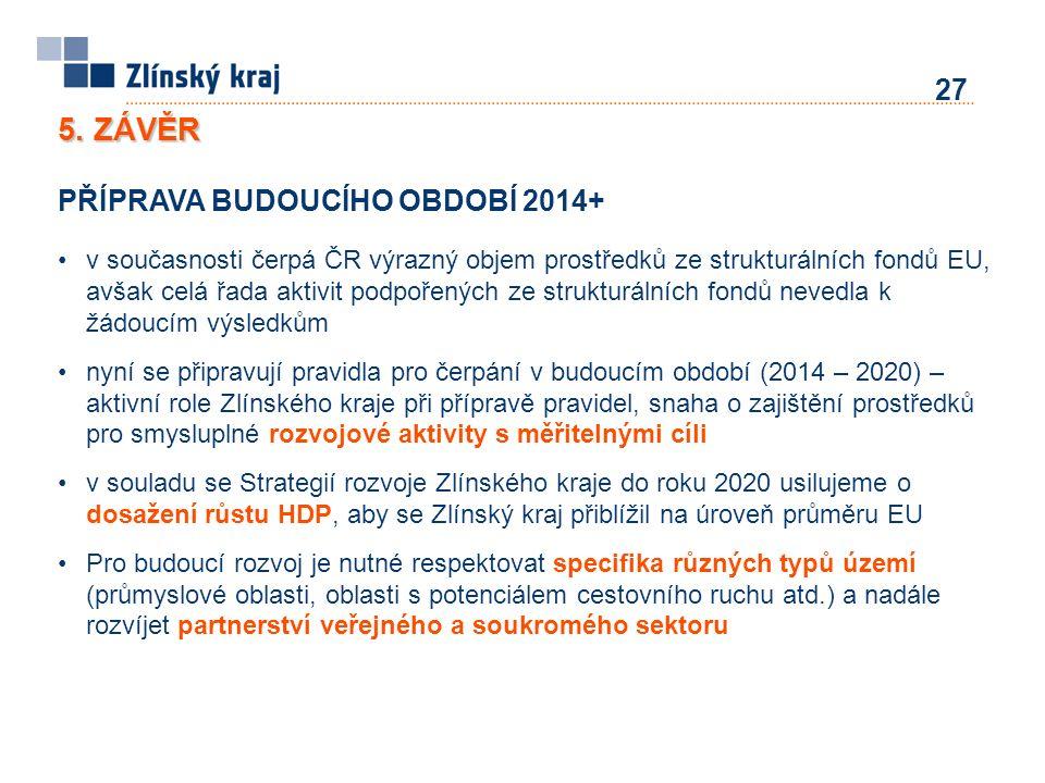 5. ZÁVĚR PŘÍPRAVA BUDOUCÍHO OBDOBÍ 2014+ v současnosti čerpá ČR výrazný objem prostředků ze strukturálních fondů EU, avšak celá řada aktivit podpořený