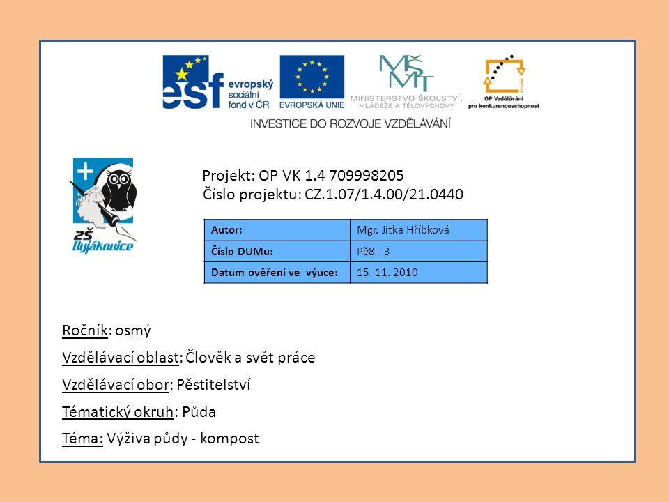 Autor:Mgr. Jitka Hříbková Číslo DUMu:Pě8 - 3 Datum ověření ve výuce:15. 11. 2010 Téma: Výživa půdy - kompost Tématický okruh: Půda Vzdělávací obor: Pě