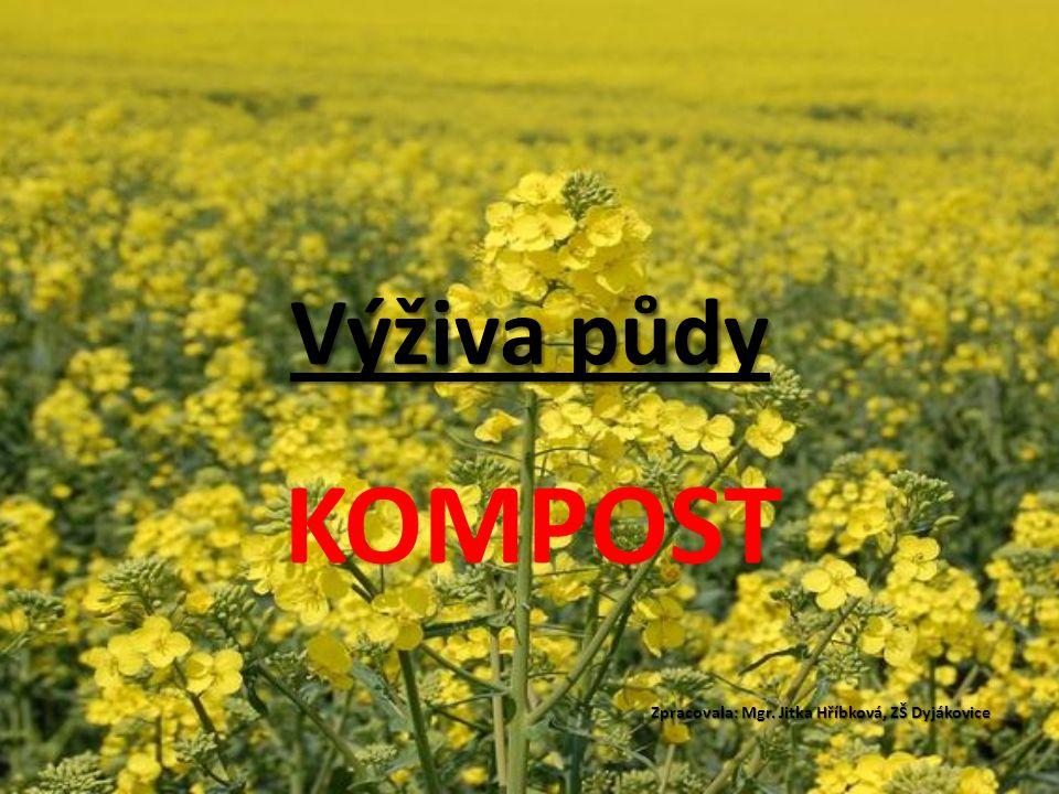 Výživa půdy KOMPOST Zpracovala: Mgr. Jitka Hříbková, ZŠ Dyjákovice