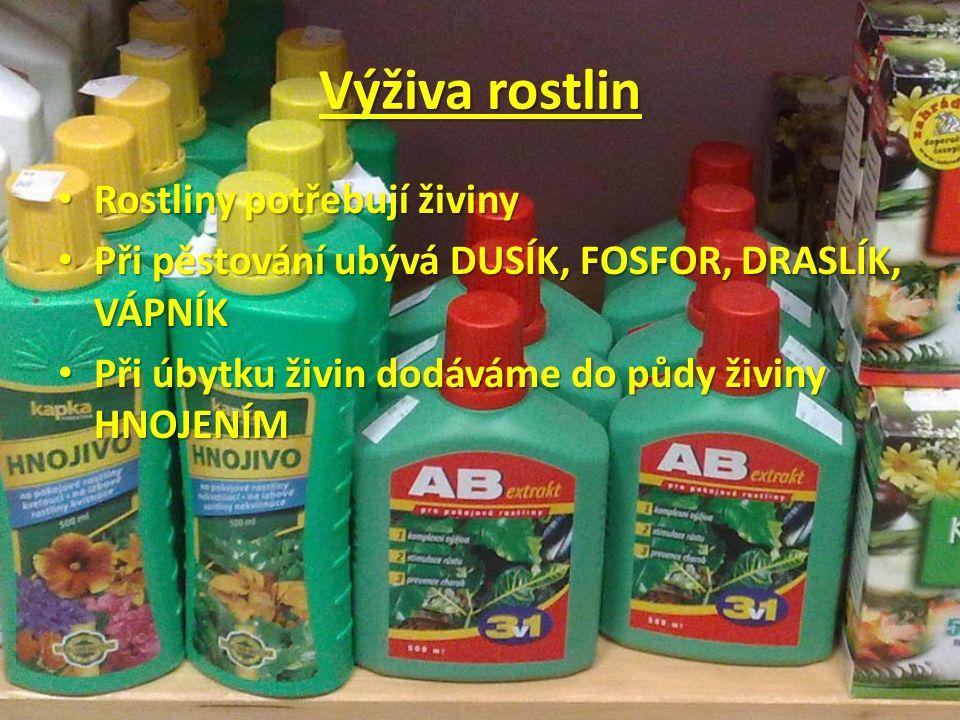 Výživa rostlin Rostliny potřebují živiny Rostliny potřebují živiny Při pěstování ubývá DUSÍK, FOSFOR, DRASLÍK, VÁPNÍK Při pěstování ubývá DUSÍK, FOSFOR, DRASLÍK, VÁPNÍK Při úbytku živin dodáváme do půdy živiny HNOJENÍM Při úbytku živin dodáváme do půdy živiny HNOJENÍM