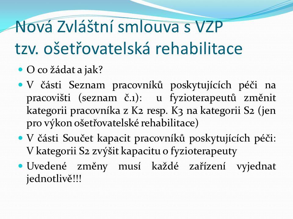Nová Zvláštní smlouva s VZP tzv. ošetřovatelská rehabilitace O co žádat a jak.