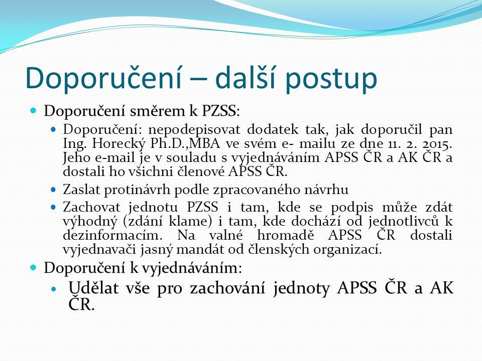 Doporučení – další postup Doporučení směrem k PZSS: Doporučení: nepodepisovat dodatek tak, jak doporučil pan Ing.