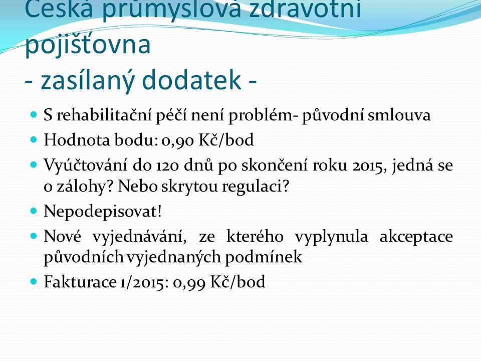 Česká průmyslová zdravotní pojišťovna - zasílaný dodatek - S rehabilitační péčí není problém- původní smlouva Hodnota bodu: 0,90 Kč/bod Vyúčtování do 120 dnů po skončení roku 2015, jedná se o zálohy.