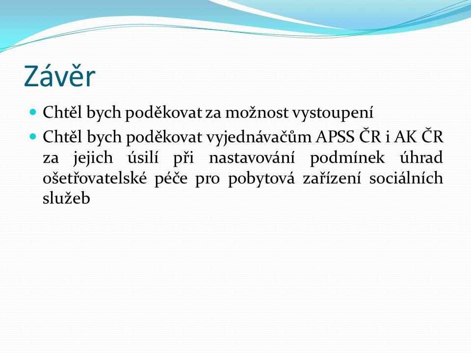 Závěr Chtěl bych poděkovat za možnost vystoupení Chtěl bych poděkovat vyjednávačům APSS ČR i AK ČR za jejich úsilí při nastavování podmínek úhrad ošetřovatelské péče pro pobytová zařízení sociálních služeb