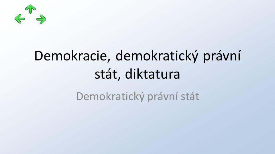 Demokracie, demokratický právní stát, diktatura Demokratický právní stát