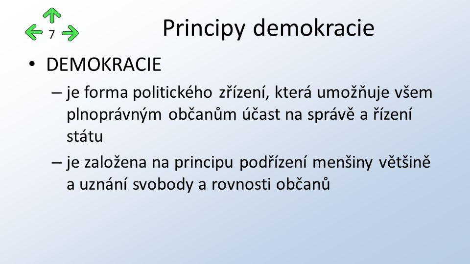 DEMOKRACIE – je forma politického zřízení, která umožňuje všem plnoprávným občanům účast na správě a řízení státu – je založena na principu podřízení