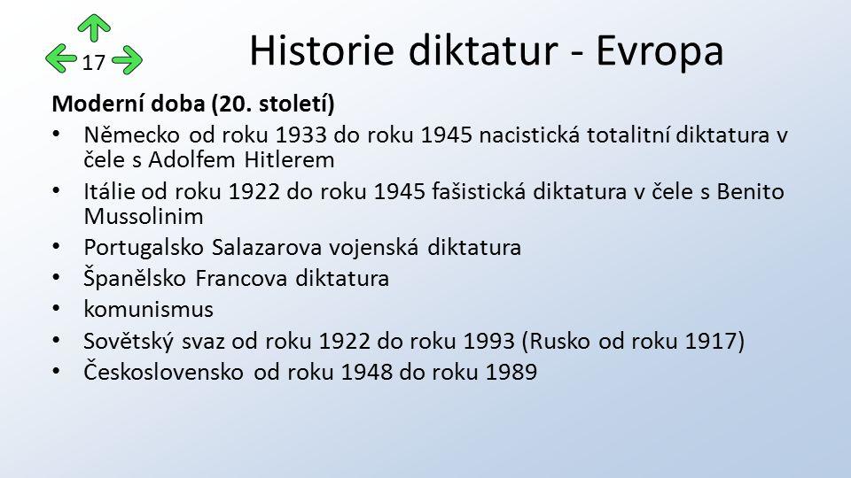 Moderní doba (20. století) Německo od roku 1933 do roku 1945 nacistická totalitní diktatura v čele s Adolfem Hitlerem Itálie od roku 1922 do roku 1945