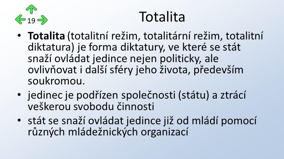 Totalita (totalitní režim, totalitární režim, totalitní diktatura) je forma diktatury, ve které se stát snaží ovládat jedince nejen politicky, ale ovl