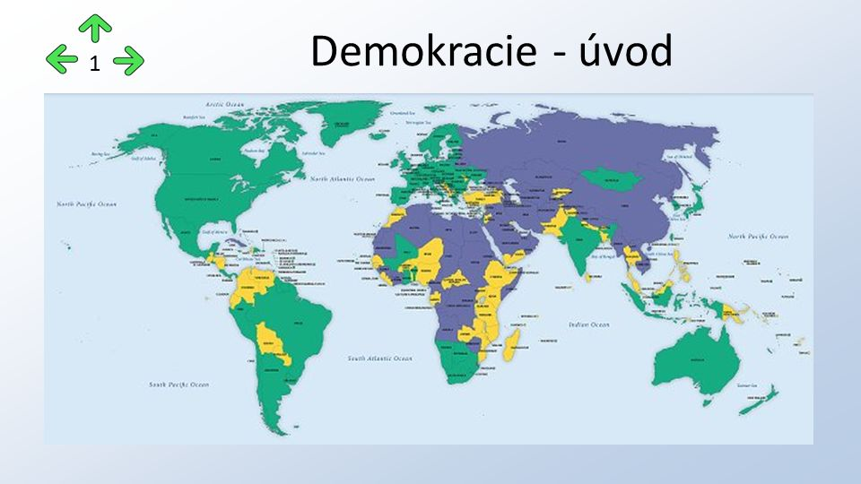 slovo DEMOKRACIE znamená vláda lidu moderní demokratický systém se opírá o tyto základní hodnoty demokracie: 1)respektování lidských práv a občanských práv a svobod 2)zásada suverenity 3)zásada dělby moci 4)vůle lidu se uskutečňuje cestou svobodných, všeobecných, rovných, přímých a tajných voleb Demokracie 2