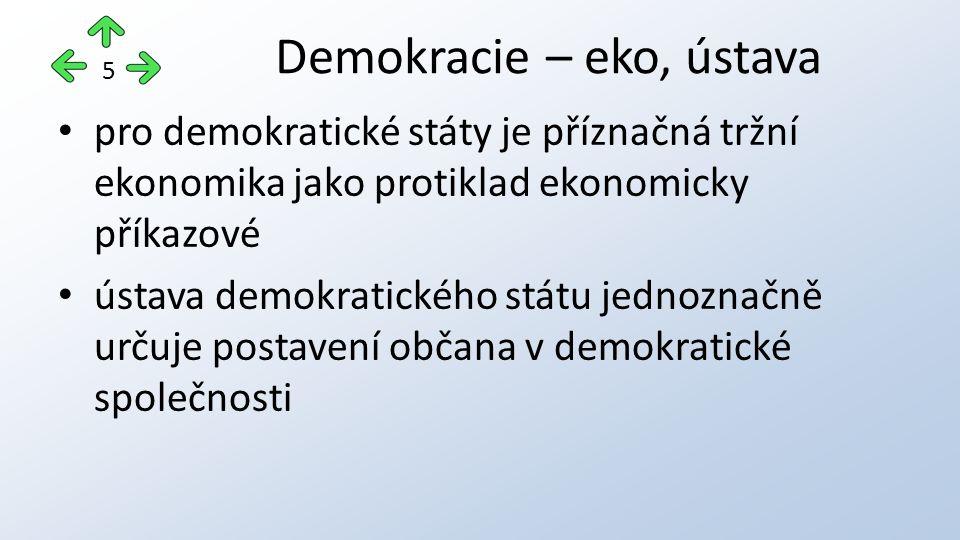 pro demokratické státy je příznačná tržní ekonomika jako protiklad ekonomicky příkazové ústava demokratického státu jednoznačně určuje postavení občan