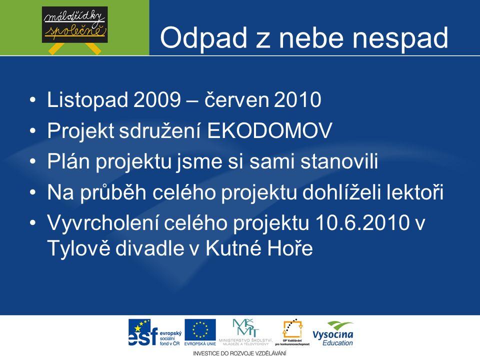 Odpad z nebe nespad Listopad 2009 – červen 2010 Projekt sdružení EKODOMOV Plán projektu jsme si sami stanovili Na průběh celého projektu dohlíželi lek