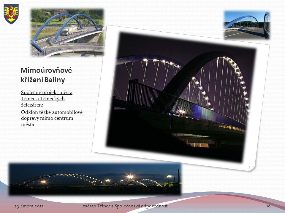 Mimoúrovňové křížení Baliny Společný projekt města Třince a Třineckých železáren: Odklon těžké automobilové dopravy mimo centrum města 29.