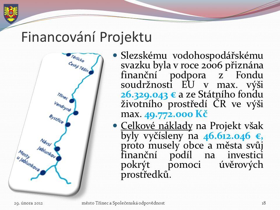 Financování Projektu Slezskému vodohospodářskému svazku byla v roce 2006 přiznána finanční podpora z Fondu soudržnosti EU v max.